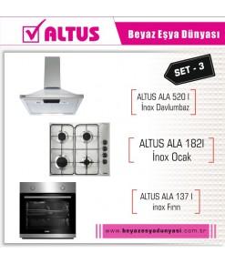 Altus İnox Ankastre Set 3 ( Ala 137 I Fırın+Ala 182 I Ocak + Ala 520 I Davlumbaz)