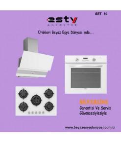 Esty Ankastre Set 10 ( 3420 Davlumbaz - ACO5365W01 Cam Ocak - AEF6272WO1 Beyaz Fırın )