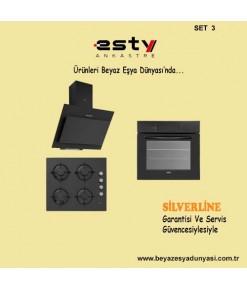 Esty Ankastre Set 3 ( 3460 Davlumbaz + ACO5335B01 Cam Ocak + AEF6272B01 Multifonksiyonel Dijital Fırın )