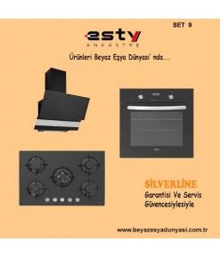 Esty Ankastre Set 9 ( 3420 Siyah Davlumbaz - 5365B01 Cam Ocak - 6272 Siyah Fırın )