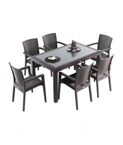 Novussi Rattan Camlı Takım 6 Sandalye 90x150 Kahverengi
